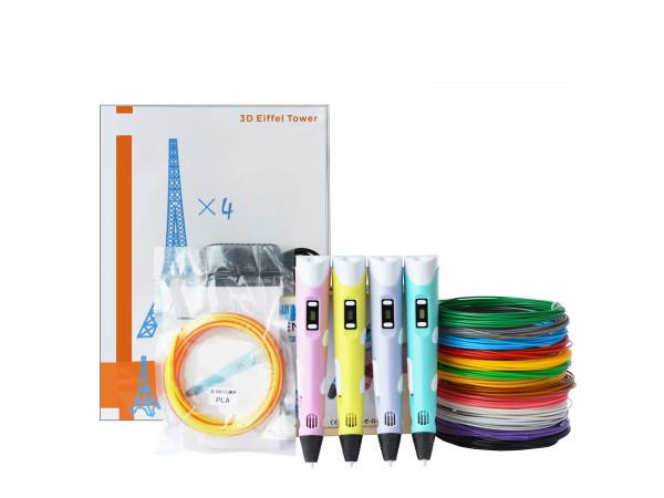 3D Ручка 3D Pen (RP-100B) Pro + Набора ABS пластика 16 цветов (80 метров) + набор цветных трафаретов для рисования + cверло для чистки сопла!