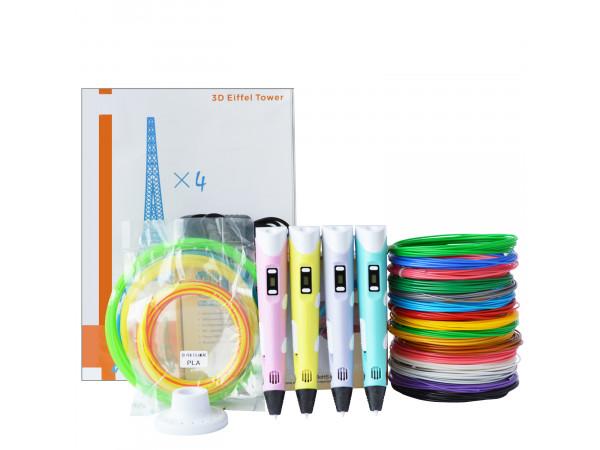 3D Ручка 3D Pen (RP-100B) VIP + Набор PLA пластика 16 цветов (70 метров) + Сверло для чистки сопла + Набор цветных трафаретов для рисования + Подставка для ручки + Светящийся PLA пластик для 3D ручки 10 метров!