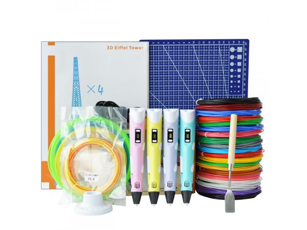 3D Ручка 3D Pen (RP-100B) Maximum + Набора ABS пластика 16 цветов (80 метров) + набор цветных трафаретов для рисования + сверло для чистки сопла + подставка для ручки + лопатка для снятия рисунков + коврик для 3D ручки!