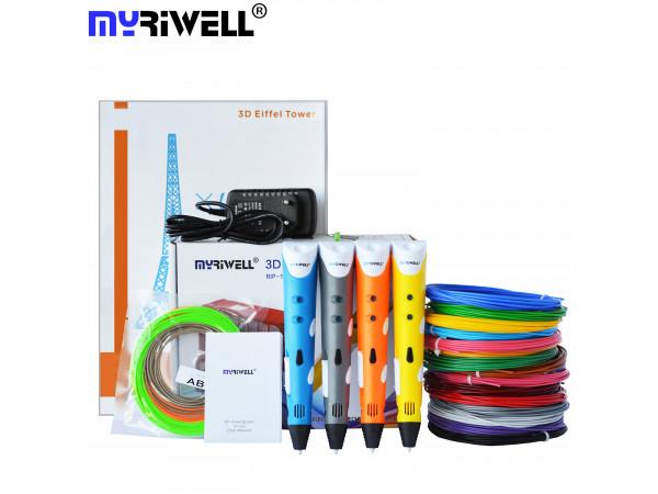 3D Ручка MyRiwell USA Pro + Набора ABS пластика 16 цветов (80 метров) + набор цветных трафаретов для рисования + сверло для чистки сопла!