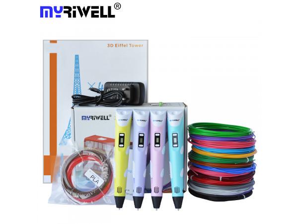 3D Ручка MyRiwell Pro 2 (LCD) + Набор ABS пластика 16 цветов (80 метров) + Сверло для чистки сопла + набор цветных трафаретов для рисования!