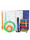 3D Ручка Air Pen Polaroid PLAY MAXIMUM + Набор ЭКО пластика (PLA) 14 цветов (70 метров) + Сверло для чистки сопла + набор трафаретов для рисования + подставка для ручки + лопатка для снятия рисунков + коврик для 3D ручки + светящийся PLA пластик!
