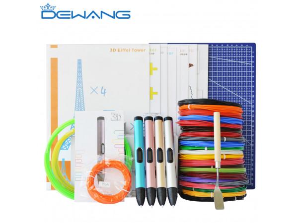 3D Ручка Dewang X4 MAXIMUM + Набора ABS пластика 16 цветов (160 метров) + набор трафаретов для рисования + подставка для ручки + лопатка для снятия рисунков + светящийся PLA пластик 10 метров + коврик A4!