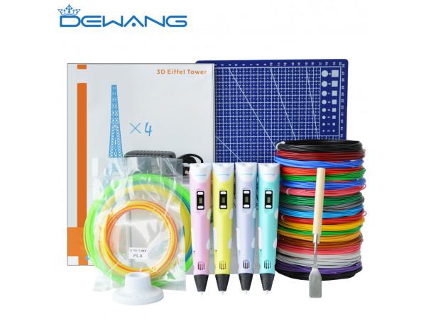 3D Ручка Dewang USA X2 Maximum + Набора ABS пластика 16 цветов (160 метров) + набор трафаретов для рисования + подставка для ручки + светящийся PLA пластик 10 метров + коврик для 3D ручки!