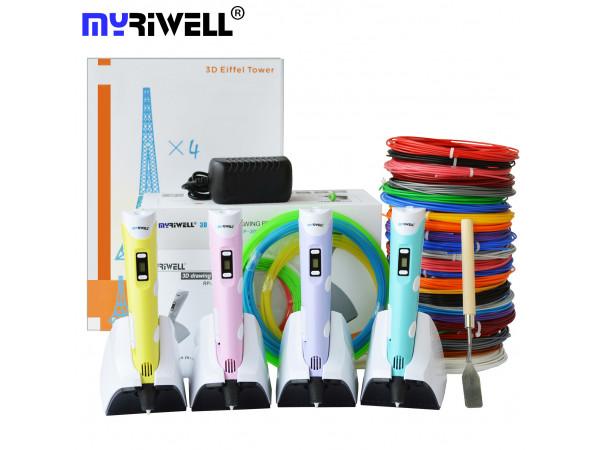 3D ручка MyRiwell Stereo Drawing (RP-200B) VIP+ Набора PLA пластика 14 цветов (140 метров) + набор трафаретов для рисования + подставка для ручки  + светящийся PLA пластик 10 метров!