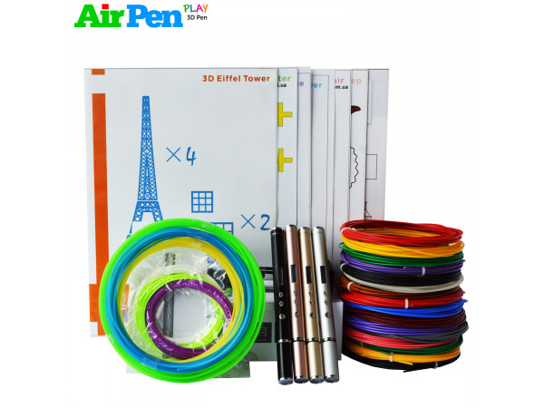 3D Ручка Air Pen Ultra Pro (RP-900A) VIP + Набора ABS пластика 16 цветов (160 метров) + набор трафаретов для рисования + светящийся PLA пластик 10 метров!