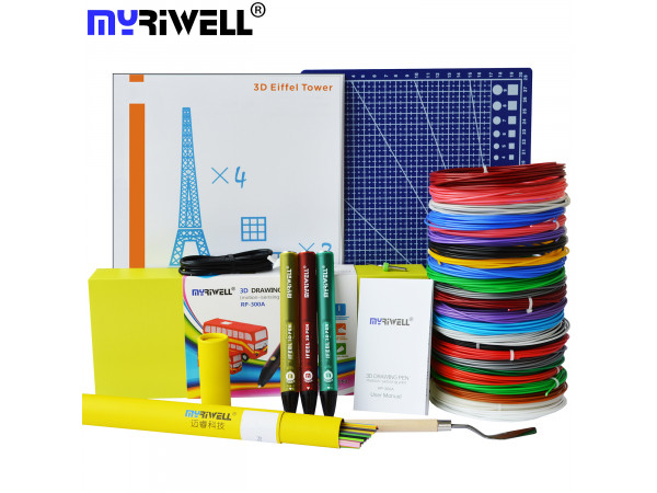 3D Ручка MyRiwell RP-300A Smart VIP + Набора PCL пластика 12 цветов (120 метров) + набор цветных трафаретов для рисования + сверло для чистки сопла + лопатка для снятия рисунков + Коврик для 3D ручек Формат А4!