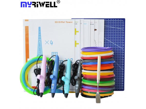 3D ручка Myriwell RP200A USB (Submarine) MAXIMUM + Набор пластика PLA 210 метров (14 цветов по 15 метров) + набор цветных трафаретов для рисования + подставка для ручки + сверло для чистки сопла + светящийся PLA пластик 10 метров + Коврик А4 + лопатка!