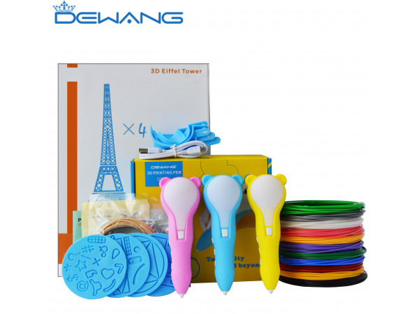 3D Ручка Dewang D8 Bear Pro + Набора PCL пластика 12 цветов (60 метров) + набор трафаретов для рисования + сверло для чистки сопла + 4 шаблона пластиковых + Наклейки!