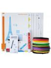3D Ручка MyRiwell RP-100C + Набор ABS пластика 16 цветов (80 метров) + набор цветных трафаретов для рисования + cверло для чистки сопла!