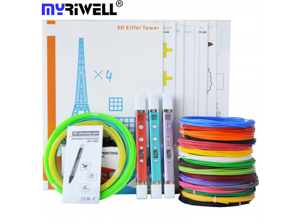 3D Ручка MyRiwell RP-100C Portable VIP + Набор PLA пластика 16 цветов (70 метров) + Сверло для чистки сопла + набор трафаретов для рисования + подставка для ручки + светящийся PLA пластик 10 метров!
