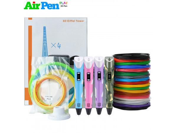 3D Ручка Air Pen 2S VIP + Набора ABS пластика 16 цветов (160 метров) + набор трафаретов для рисования + сверло для чистки сопла + подставка для ручки + светящийся пластик для 3D ручки!