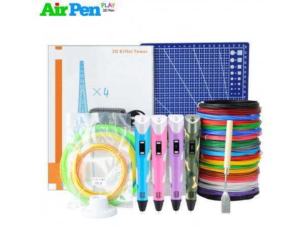 3D Ручка Air Pen 2S MAXIMUM + Набору ABS пластику 16 кольорів (160 метрів) + набір трафаретів для малювання + свердло для чищення сопла + підставка для ручки + лопатка для зняття малюнків + килимок для 3D ручки + світиться пластик для 3D ручки!