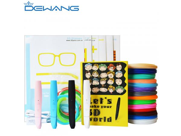 Умная 3D Ручка Dewang D12 VIP + Набора ABS+ пластика 16 цветов (160 метров) + набор трафаретов для рисования + светящийся PLA пластик 10 метров!