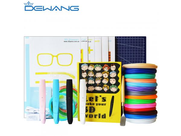 Умная 3D Ручка Dewang D12 MAXIMUM + Набора ABS пластика 16 цветов (160 метров) + набор трафаретов для рисования + сверло для чистки сопла + лопатка для снятия рисунков + коврик для 3D ручки + светящийся пластик для 3D ручки!