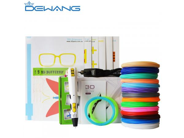 3D Ручка Dewang X9 VIP + Набора ABS пластика 16 цветов (160 метров) + набор трафаретов для рисования + подставка для ручки + светящийся PLA пластик 10 метров + прозрачный коврик!