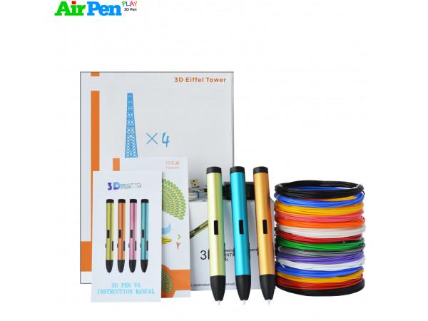 3D Ручка Air Pen Play V6 RPO + НАБОРА PLA+ ПЛАСТИКА 12 ЦВЕТОВ (120 МЕТРОВ) + НАБОР ТРАФАРЕТОВ ДЛЯ РИСОВАНИЯ + СВЕРЛО ДЛЯ ЧИСТКИ СОПЛА!