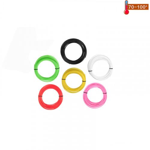 Набор пластика PCL для 3D ручек 30 метров (6 цветов по 5 метров)